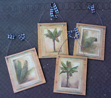 4 PALM TREE WALL HANGINGS PICTURES COCONUT TREES LOT OF 4 TROPICAL BEACH LEAVES