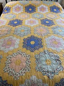 OMG! Vintage Handmade Hand Quilted Grandmothers Flower Garden Quilt 93x100 #95
