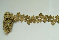1 Yards Metallic Gold Flower Embroidered Lace Venice Trim Sewing Appliques HB02
