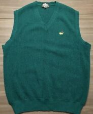 Masters Clubhouse Collection Mens Medium Green V-Neck Golf Vest 100% Alpaca Wool