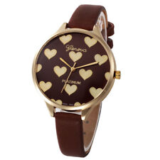 Ladies Fashion Gold Case Brown & Gold Heart Design Face Slim Band Wrist Watch.