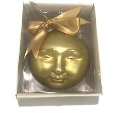 Vtg Dept 56 Gold Man In Moon Face Globe Stars Frosted Mercury Glass 16 1/2� Circ