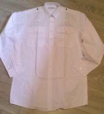 """Tall Mens WHITE police pilot work LS shirt Epaulette 15.5"""" 16"""" 19.5"""" NEW"""