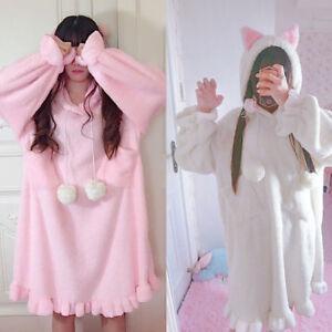 2 Color Kawaii Lolita Cat Ears Nightdress Flannel Warm Sleepshirts Dress Pajamas