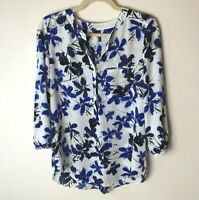 NYDJ Women's Top Size Small Popover Blouse Floral 3/4 Sleeves Casual Work Career