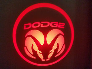2PC RED DODGE 5W LED EMBLEM DOOR PROJECTOR GHOST SHADOW PUDDLE LOGO LIGHT