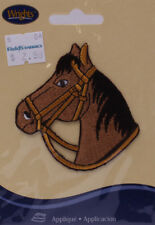 Wrights Horse Head Iron On Applique Brown Badge Equestrian Riding M211.10