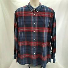 Mens Henry Lloyd Blue And Red Checked Long Sleeve Flannel Shirt Size L Large