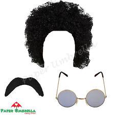 Hombre Hippy Años 70 AÑOS 80 AFRO NEGRO Bigote Gafas 1970s 1980s