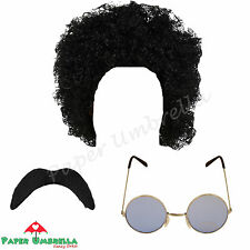 Uomo Hippy anni 70 80 Afro Nero Baffi occhiali '70 80 CERVO Costume