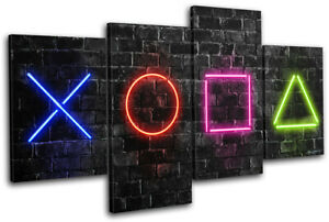 Playstation 5 Gamer Neon Urban Gaming MULTI CANVAS WALL ART Picture Print