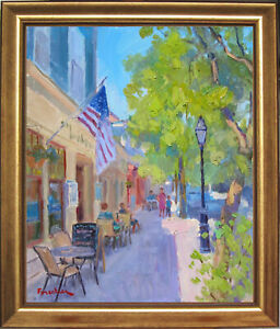 STREET IN NEWPORT~LISTED ARTIST~ORIGINAL OIL PAINTING MARC FORESTIER