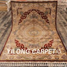 Yilong 5.6'x8.3' Golden Hand knotted Carpets Royal Handmade Silk Area Rug C42A