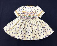 """Smocked Cotton Print Dress for 13"""" Modern Slender Hard Plastic/Vinyl Dolls"""