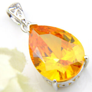 Unique Teardrop Shaped Bright Honey Brazil Citrine Gems Silver Necklace Pendants