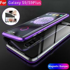 For Samsung Galaxy S8 S9Plus Magnetic Adsorption Metal Case Tempered Glass Cover