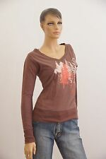 F2 Shirt Top Langarm braun Damen Größe M Medium (1704B-OH3)