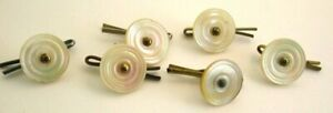 Set of 6 Antique Victorian Mother of Pearl Ridged Buttons