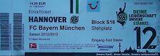 TICKET 2012/13 Hannover 96 - Bayern München