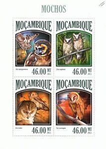 OWLS (Mochas) Birds of Prey Mint MNH Stamp Sheet M/S (2013 Mozambique)