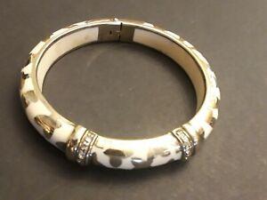 ANGELIQUE de PARIS Sterling Silver CZ Enamel Animal Print Ivory Bangle Bracelet