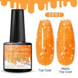 Meet Across Spring UV Gel Nail Polish Soak Off Salon Glitter Orange Gel 6ml
