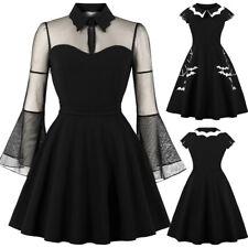 Halloween Black Queen Dress Womens Punk Party Gothic Rockabilly Swing Dresses UK