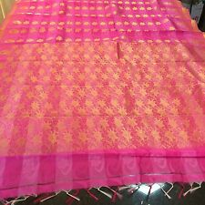 Bridal Kanchipuram Indian Silk Cotton Blend Saree Bollywood Purple Pink Sari #52