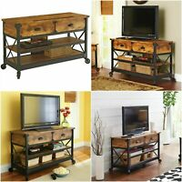 Console TV Stand Table Industrial Rustic Living Room Antique Pine Media Cabinet