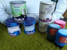 Job Lot Of Wood And Metal Paint Dulux Green Blue Grey Ideal For Upcycling...