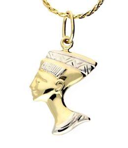 Echte 585 Gold ANHÄNGER, NOFRETETE, Gelb,-Weißgold,14 Karat, Facettiert, Bicolor