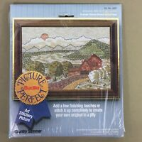 Country Summer farm apple trees crewel embroidery kit Bucilla vintage new sealed