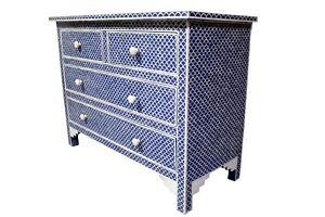blue fish scale  pattern 4 drawer bone inlay dressers ,bone inlay furniture