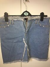Womens Used Fluid Jeans Blue Denim Skirt Size 12 In Very Good Condition