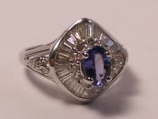 18kt White Gold Ring with Tanzanite and Tapered Baguette Diamonds  I-5788