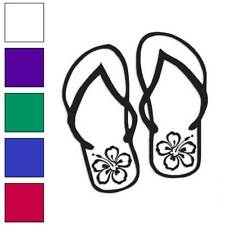 Hibiscus Flip Flops Decal Sticker Choose Color + Size #371