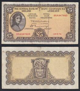 Irlanda 5 pounds 26.5.1974 BB/VF  B-07