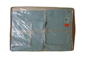 Pure Linen 4 Placemats 4 Napkins Hemstitch Hand Drawn Work Vintage Unused Blue