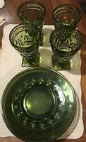 Set Of indian Olive Green Glass 4 Plates 4 Goblets