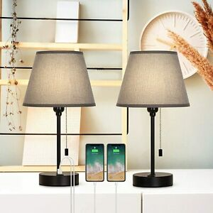 Dual USB Bedside Table Lamps, Bedside Lamps Set of 2 ,Nightstand Lamps for Bedr