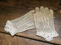 Vintage French Crocheted Ladies Dress Gloves Wrist Length Ivory Color