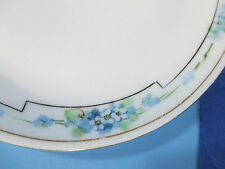 Hand Painted Plates Blue Flowers Vintage Art Deco Set of 3 Bavaria Lunch Salad