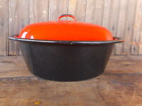 Vintage used black red Enamel Dutch Oven w/ Lid Country Farmhouse Decor