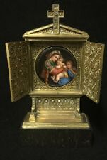 German Bronze Marble And Porcelain Painting After Raphael Of Madonna And Child