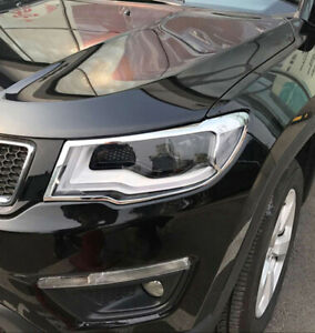 For Jeep Compass 2017 2018 2019 Chrome Front Head light  lamp Cover trim