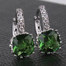 HOT SALE! Alluring luxury emerald 18K white gold filled leverback earring