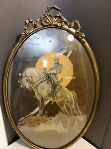 Antique Ribbon Crest Convex Bubble Glass Oval Metal Picture Frame Robert E Lee