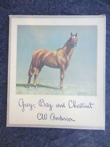 "1955 CW ANDERSON ""GREY BAY & CHESTNUT"" HORSE PRINTS 14X16 EXCELLENT"