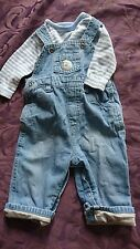 Mothercare 3-6 months boys dungarees and top set