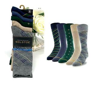 GoldToe Signature Collection Dress Socks Men's Shoe Size 6-12.5 5 Pack Gray Blue